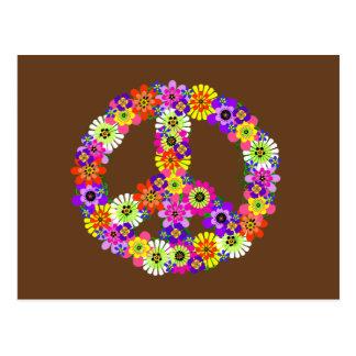 Signo de la paz floral en Brown Postal