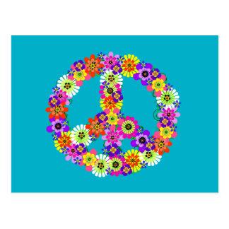 Signo de la paz floral en la turquesa postales