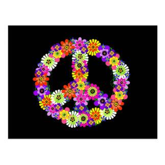 Signo de la paz floral en negro postal