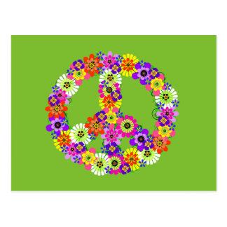 Signo de la paz floral en verde lima tarjeta postal
