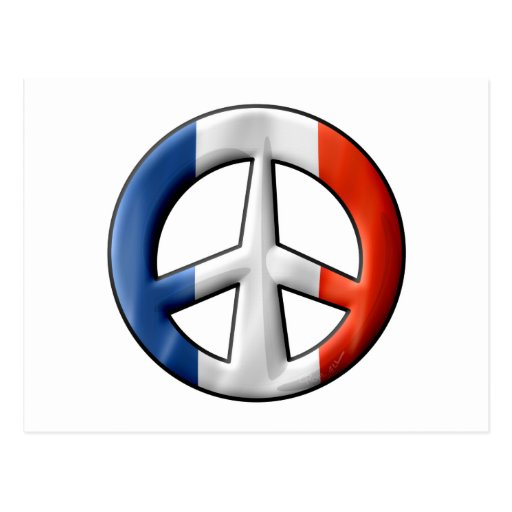 Signo de la paz francés de la bandera tarjeta postal