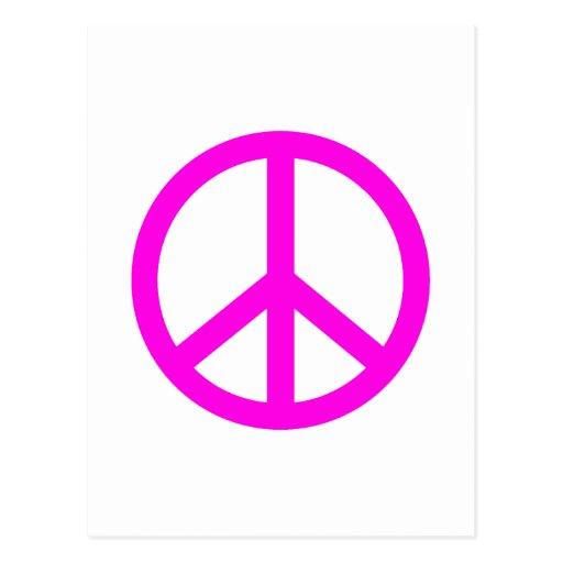 Signo de la paz fucsia postal