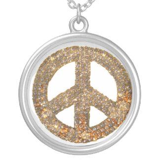 Signo de la paz Jewlery del diseño del diamante Colgante Redondo