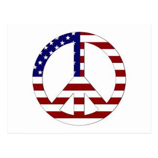 Signo de la paz los E.E.U.U. de la bandera Tarjeta Postal