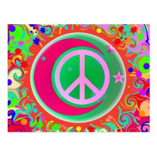 Signo de la paz, luna, estrellas y todo postal