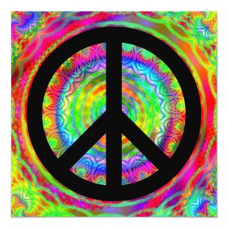 Signo de la paz negro enrrollado invitación 13,3 cm x 13,3cm