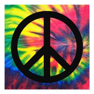 Signo de la paz negro teñido lazo invitación 13,3 cm x 13,3cm