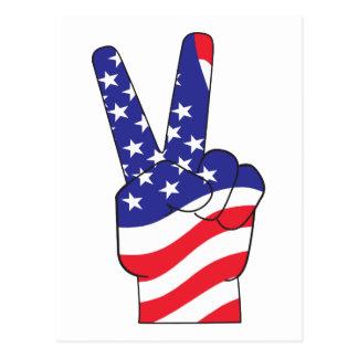 Signo de la paz patriótico los E.E.U.U. Postales