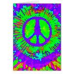 Signo de la paz psicodélico abstracto del teñido a tarjeton