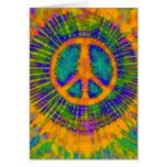 Signo de la paz psicodélico abstracto del teñido a tarjeta