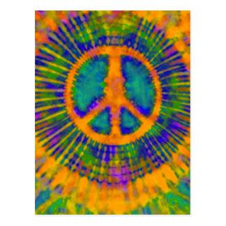 Signo de la paz psicodélico abstracto del teñido postal