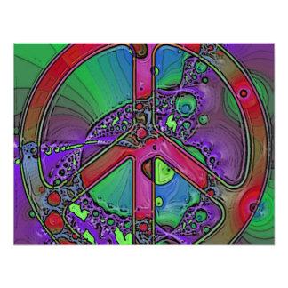 signo de la paz psicodélico invitacion personalizada