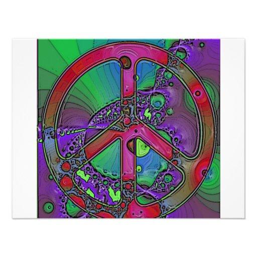 signo de la paz psicodélico invitacion personal