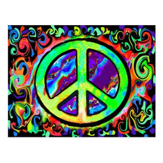 Signo de la paz psicodélico postal