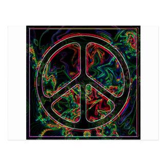 signo de la paz psicodélico tarjetas postales