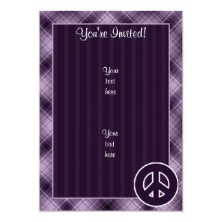 Signo de la paz púrpura invitación 12,7 x 17,8 cm