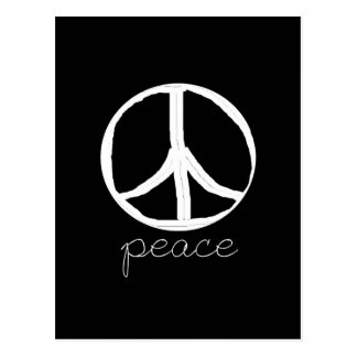 Signo de la paz retro en fondo negro postal