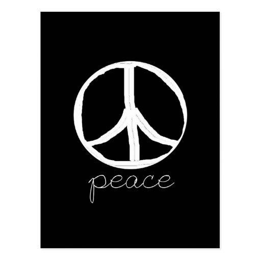 Signo de la paz retro en fondo negro postales