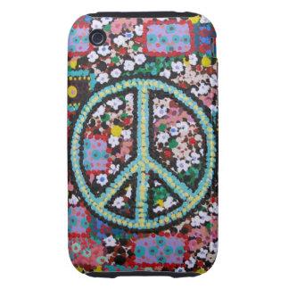 Signo de la paz retro tough iPhone 3 carcasa