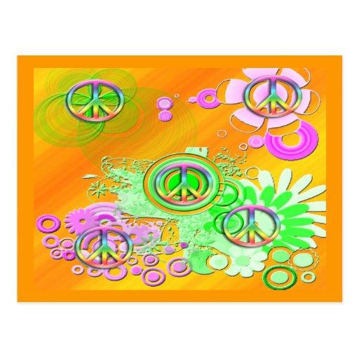 Signo de la paz retro tarjetas postales