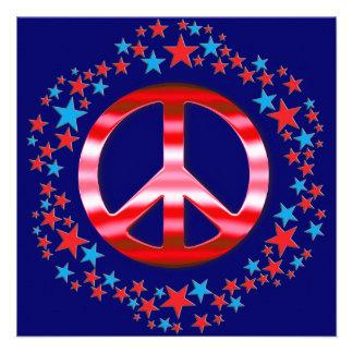 Signo de la paz rojo con las invitaciones de las e invitacion personal