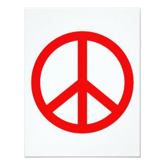 Signo de la paz rojo invitaciones personalizada