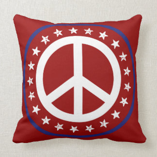 Signo de la paz rojo náutico y estrellas blancos y cojín decorativo