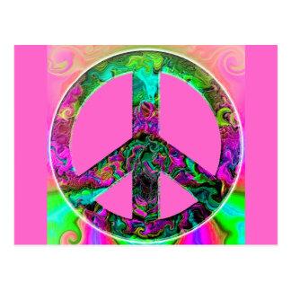 Signo de la paz rosado Trippy Postal