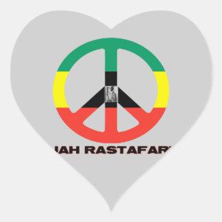 Signo de la paz Selassie I de Jah Rastafari Calcomanías De Corazones