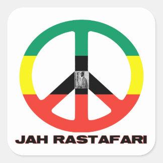 Signo de la paz Selassie I de Jah Rastafari Calcomania Cuadradas Personalizadas
