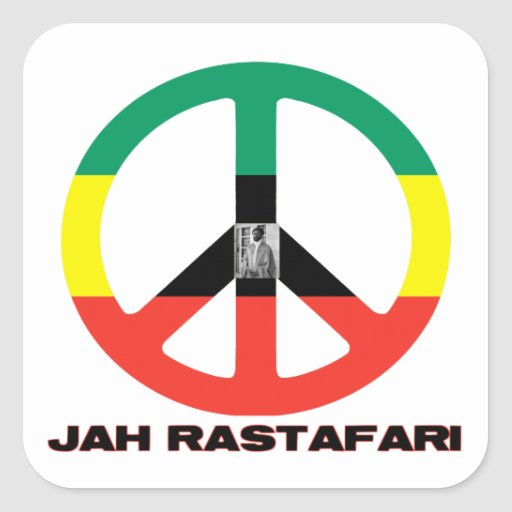 Signo de la paz Selassie I de Jah Rastafari Calcomanía Cuadradas Personalizada