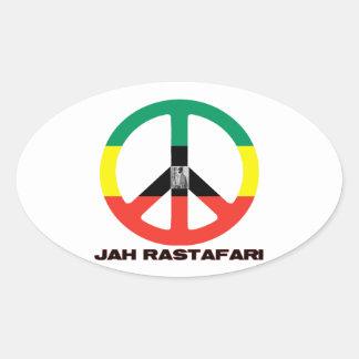 Signo de la paz Selassie I de Jah Rastafari Pegatinas Ovaladas Personalizadas