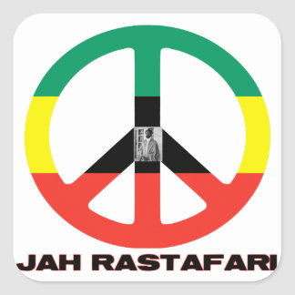 Signo de la paz Selassie I de Jah Rastafari Calcomanías Cuadradas