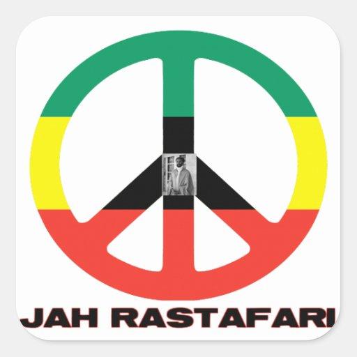 Signo de la paz Selassie I de Jah Rastafari Calcomanias Cuadradas