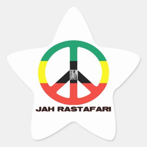 Signo de la paz Selassie I de Jah Rastafari Calcomanías Forma De Estrellaes Personalizadas