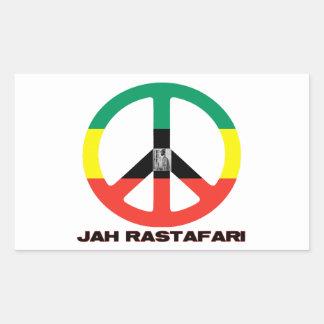 Signo de la paz Selassie I de Jah Rastafari Rectangular Pegatinas