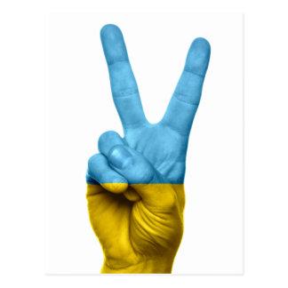 Signo de la paz ucraniano de la bandera postal