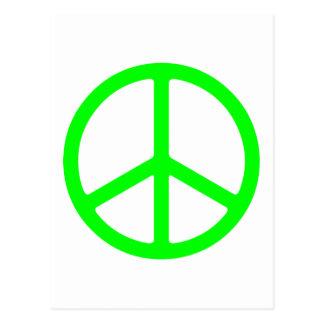 Signo de la paz verde claro tarjeta postal