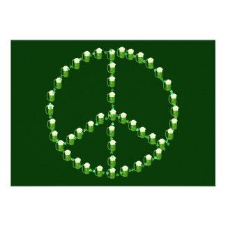 Signo de la paz verde de la cerveza