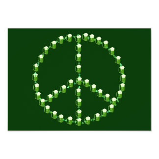 Signo de la paz verde de la cerveza invitación 12,7 x 17,8 cm
