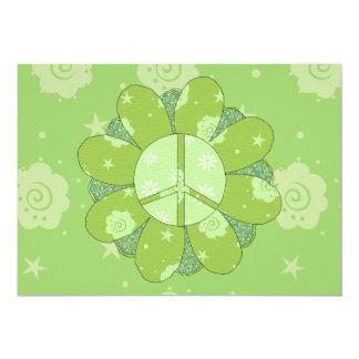 Signo de la paz verde de la flor invitación 12,7 x 17,8 cm