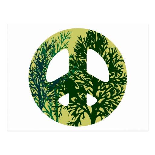 Signo de la paz verde de los árboles postal