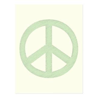 Signo de la paz verde en colores pastel tarjetas postales