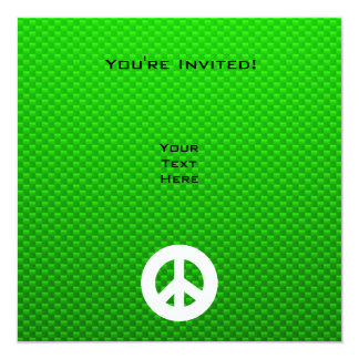 Signo de la paz verde invitación 13,3 cm x 13,3cm