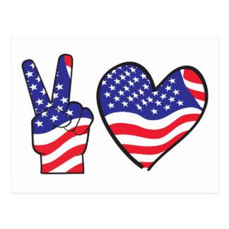 Signo de la paz y corazón patrióticos tarjeta postal