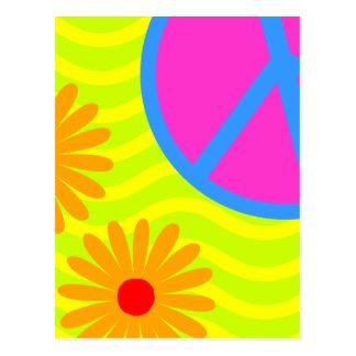 signo de la paz y flores del Hippie de los años 70 Postal