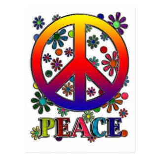 Signo de la paz y flores retros postal
