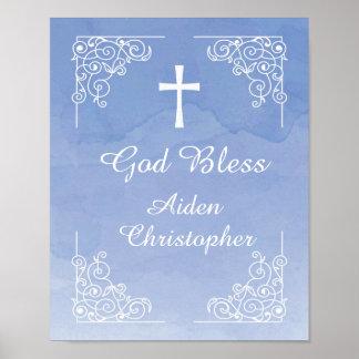 Signo positivo azul del bautismo o de la comunión póster