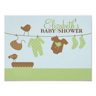 Signo positivo de la fiesta de bienvenida al bebé  posters