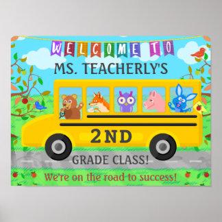 Signo positivo del profesor para el autobús animal póster